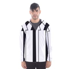 Funny Black and White Stripes Diamonds Arrows Hooded Wind Breaker (Men)