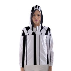 Funny Black and White Stripes Diamonds Arrows Hooded Wind Breaker (Women)