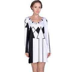 Funny Black and White Stripes Diamonds Arrows Long Sleeve Nightdress
