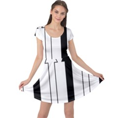 Funny Black And White Stripes Diamonds Arrows Cap Sleeve Dresses