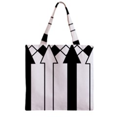 Funny Black and White Stripes Diamonds Arrows Zipper Grocery Tote Bag