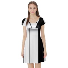 Funny Black and White Stripes Diamonds Arrows Short Sleeve Skater Dress