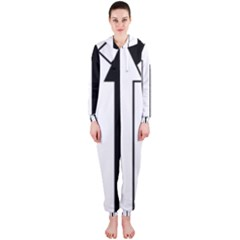 Funny Black and White Stripes Diamonds Arrows Hooded Jumpsuit (Ladies)