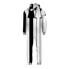 Funny Black and White Stripes Diamonds Arrows Hooded Jumpsuit (Kids)