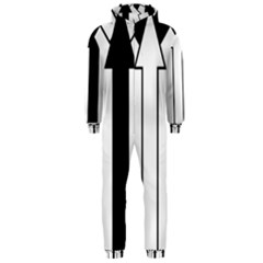 Funny Black and White Stripes Diamonds Arrows Hooded Jumpsuit (Men)