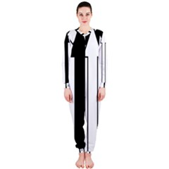 Funny Black and White Stripes Diamonds Arrows OnePiece Jumpsuit (Ladies)