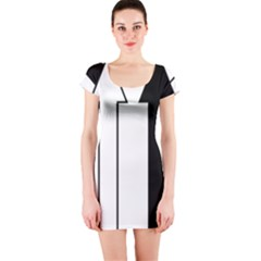 Funny Black and White Stripes Diamonds Arrows Short Sleeve Bodycon Dress