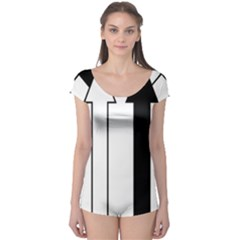 Funny Black and White Stripes Diamonds Arrows Boyleg Leotard (Ladies)