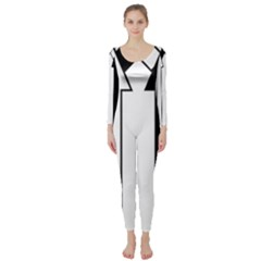 Funny Black and White Stripes Diamonds Arrows Long Sleeve Catsuit