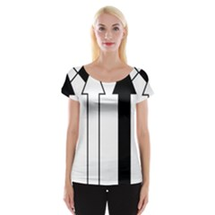 Funny Black and White Stripes Diamonds Arrows Women s Cap Sleeve Top
