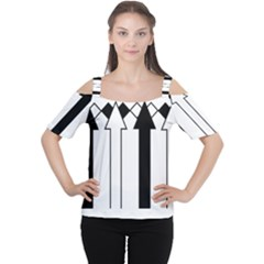 Funny Black and White Stripes Diamonds Arrows Women s Cutout Shoulder Tee