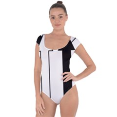 Funny Black and White Stripes Diamonds Arrows Short Sleeve Leotard (Ladies)