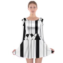 Funny Black and White Stripes Diamonds Arrows Long Sleeve Skater Dress