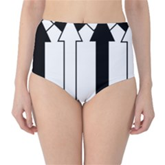 Funny Black and White Stripes Diamonds Arrows High-Waist Bikini Bottoms