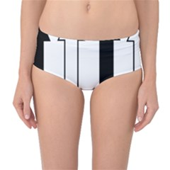 Funny Black and White Stripes Diamonds Arrows Mid-Waist Bikini Bottoms