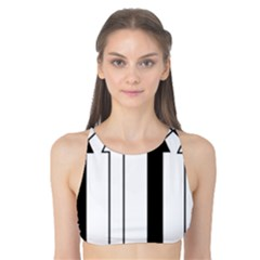 Funny Black and White Stripes Diamonds Arrows Tank Bikini Top