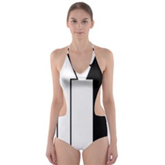 Funny Black and White Stripes Diamonds Arrows Cut-Out One Piece Swimsuit