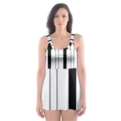 Funny Black and White Stripes Diamonds Arrows Skater Dress Swimsuit