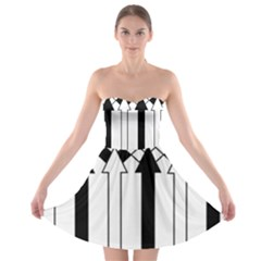 Funny Black and White Stripes Diamonds Arrows Strapless Dresses