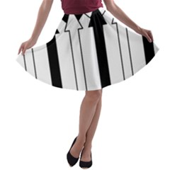 Funny Black and White Stripes Diamonds Arrows A-line Skater Skirt