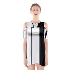 Funny Black and White Stripes Diamonds Arrows Cutout Shoulder Dress