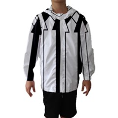 Funny Black and White Stripes Diamonds Arrows Hooded Wind Breaker (Kids)