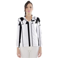 Funny Black and White Stripes Diamonds Arrows Wind Breaker (Women)