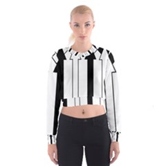 Funny Black and White Stripes Diamonds Arrows Women s Cropped Sweatshirt