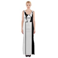 Funny Black and White Stripes Diamonds Arrows Maxi Thigh Split Dress