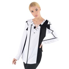 Funny Black and White Stripes Diamonds Arrows Women s Tie Up Tee