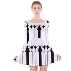 Funny Black and White Stripes Diamonds Arrows Long Sleeve Velvet Skater Dress