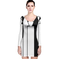Funny Black and White Stripes Diamonds Arrows Long Sleeve Velvet Bodycon Dress