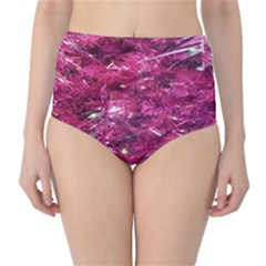 Festive Hot Pink Glitter Merry Christmas Tree  High Waist Bikini Bottoms by yoursparklingshop