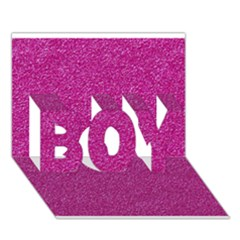 Metallic Pink Glitter Texture Boy 3d Greeting Card (7x5) by yoursparklingshop