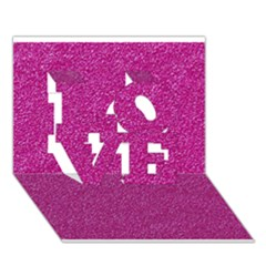 Metallic Pink Glitter Texture Love 3d Greeting Card (7x5)  by yoursparklingshop