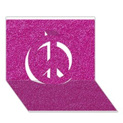 Metallic Pink Glitter Texture Peace Sign 3d Greeting Card (7x5)  by yoursparklingshop