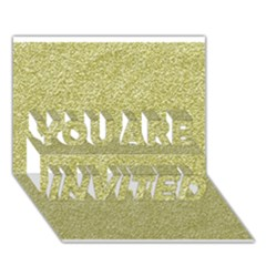 Festive White Gold Glitter Texture You Are Invited 3d Greeting Card (7x5)