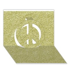 Festive White Gold Glitter Texture Peace Sign 3d Greeting Card (7x5)  by yoursparklingshop