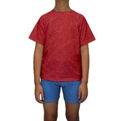 Festive Red Glitter Texture Kid s Short Sleeve Swimwear by yoursparklingshop