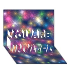 Starlight Shiny Glitter Stars You Are Invited 3d Greeting Card (7x5)  by yoursparklingshop