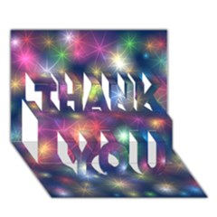 Starlight Shiny Glitter Stars Thank You 3d Greeting Card (7x5)  by yoursparklingshop