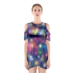 Starlight Shiny Glitter Stars Cutout Shoulder Dress by yoursparklingshop