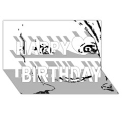 Portrait Black And White Girl Happy Birthday 3d Greeting Card (8x4)  by yoursparklingshop