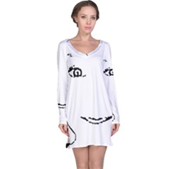 Portrait Black And White Girl Long Sleeve Nightdress