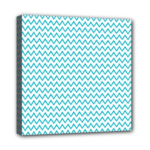 Blue White Chevron Mini Canvas 8  X 8  by yoursparklingshop