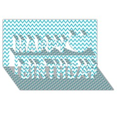 Blue White Chevron Happy Birthday 3d Greeting Card (8x4)  by yoursparklingshop
