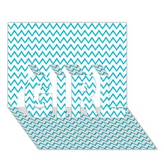 Blue White Chevron Girl 3d Greeting Card (7x5)  by yoursparklingshop