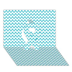 Blue White Chevron Ribbon 3d Greeting Card (7x5)  by yoursparklingshop