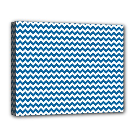 Dark Blue White Chevron  Deluxe Canvas 20  X 16   by yoursparklingshop