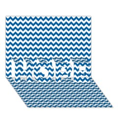 Dark Blue White Chevron  Hope 3d Greeting Card (7x5)  by yoursparklingshop